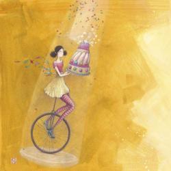 Carte Gaëlle Boissonnard - Le monocycle d'anniversaire - 14x14 cm