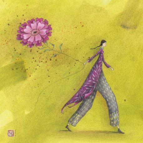 Carte Gaëlle Boissonnard - La fleur rose - 14x14 cm