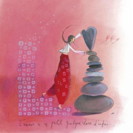 """Carte Anne-Sophie Rutsaert """"L'amour a ce petit quelque chose d'infini..."""" 14x14 cm"""