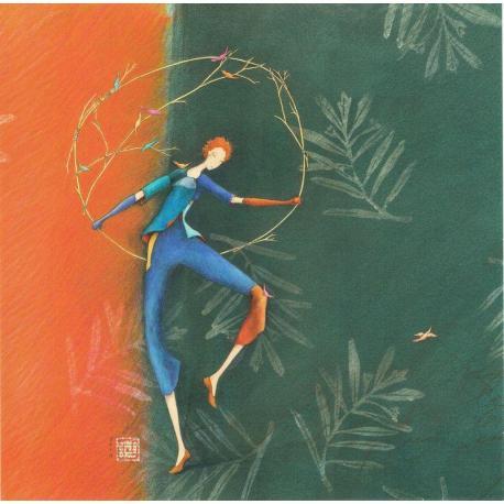Carte Gaëlle Boissonnard - Le danseur aux oiseaux - 14x14 cm