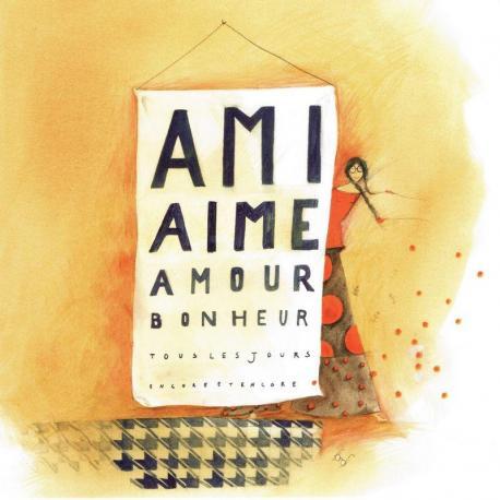 """Carte Anne-Sophie Rutsaert """"Ami Aime Amour Bonheur Tous les jours encore et encore"""" 14x14 cm"""