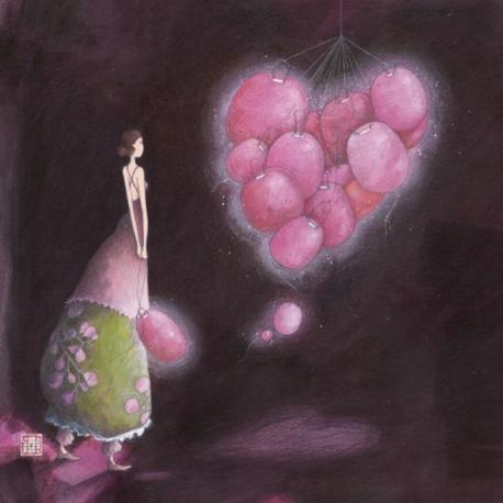 Carte Gaëlle Boissonnard - Les lampions roses - 14x14 cm