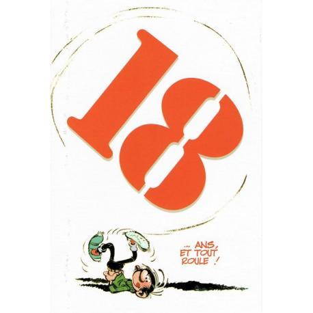 """Carte Gaston Lagaffe """"18 ... ans. et tout roule ! """"- 12x17 cm"""