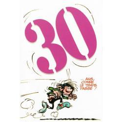 """Carte Gaston Lagaffe """"30 ... ans. Comme le temps passe !"""" - 12x17 cm"""