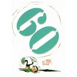 """Carte Gaston Lagaffe """"60 ... ans. Et tout roule !"""" - 12x17 cm"""