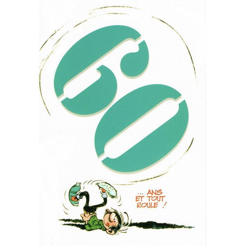 Carte gaston lagaffe 60 ans et tout roule 12x17 cm planete - Animation anniversaire 60 ans femme ...