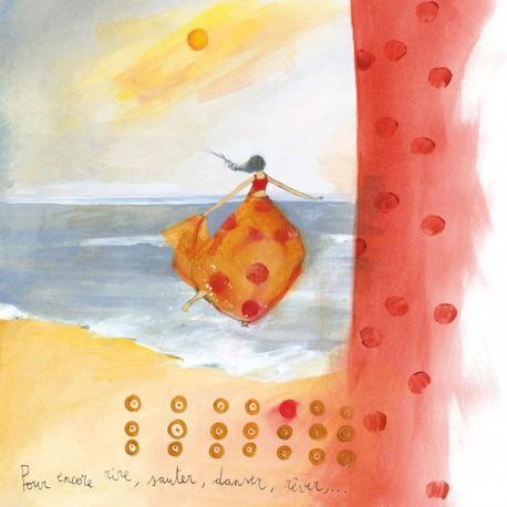 """Carte Anne-Sophie Rutsaert """"Pour encore rire, sauter,...!"""" 14x14 cm"""