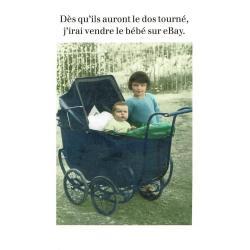Carte humour de Cath Tate - Vendre le bébé... - 10.5x15 cm