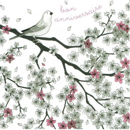 Carte Myriam Nion : Titi Pinson - Bon anniversaire: oiseau sur la branche - 13.5x13.5 cm