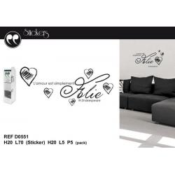 "Stickers citation W. Shakespeare ""L'amour est simplement..."" Format 20 x 70 cm"