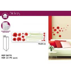 Stickers décoration coquelicots - Format 20 x 70 cm