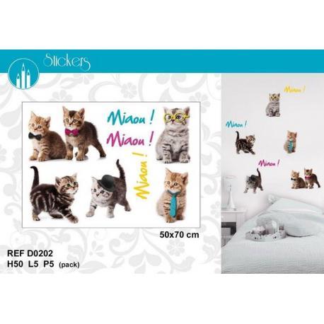 Stickers Chats Miaou! Miaou! - Format 50x70 cm