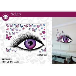 """Stickers Trompe l'oeil """"Oeil et papillons"""" - Format 50x70 cm"""