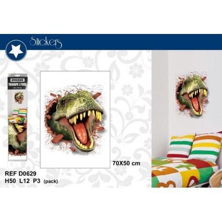 """Stickers Trompe l'oeil """"tête de dinosaure"""" - Format 50x70 cm"""