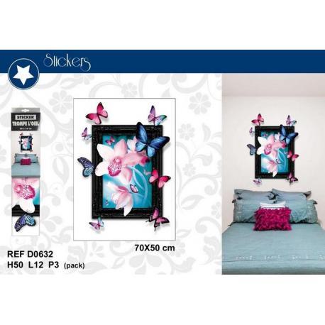 """Stickers Trompe l'oeil """"Tableau: envol de papillons et fleurs"""" - Format 50x70 cm"""