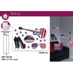 Stickers thème américain - Format 50x70 cm