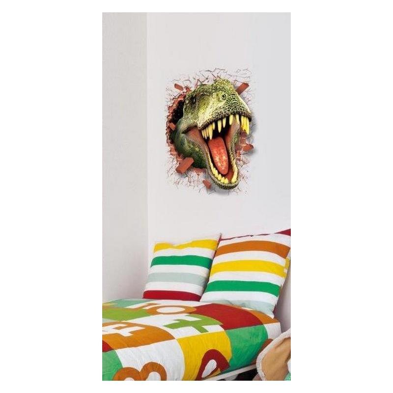 stickers trompe l 39 oeil t te de dinosaure format 50x70 cm planete. Black Bedroom Furniture Sets. Home Design Ideas