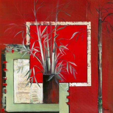 Carte Annie Manero - Vase noir aux Bambous - 14x14 cm