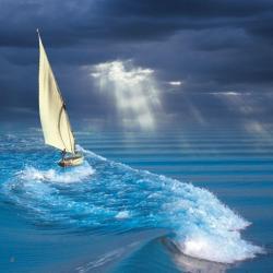 Carte Maïlo - Surf sur la vague - 14x14 cm