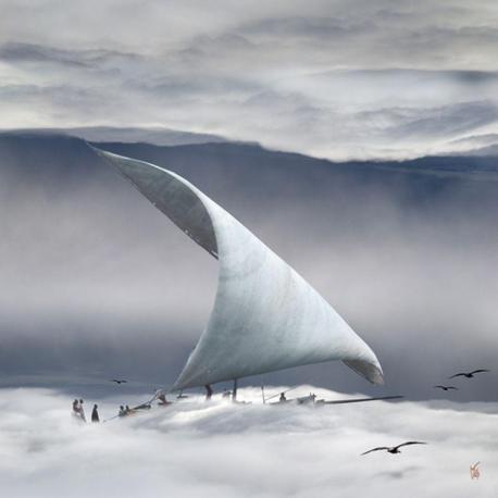 Carte Maïlo - Surf sur les nuages - 14x14 cm