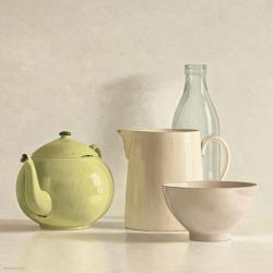 Carte Willem de_Bont - Yellow Teapot, Bottle, Bowl and Jug - 14x14 cm
