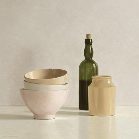 Carte Willem de_Bont - Stacked Bowls, Bottle and little Jar - 14x14 cm
