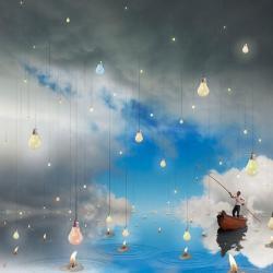 Carte Maïlo - L´allumeur des réverbères célestes - 14x14 cm