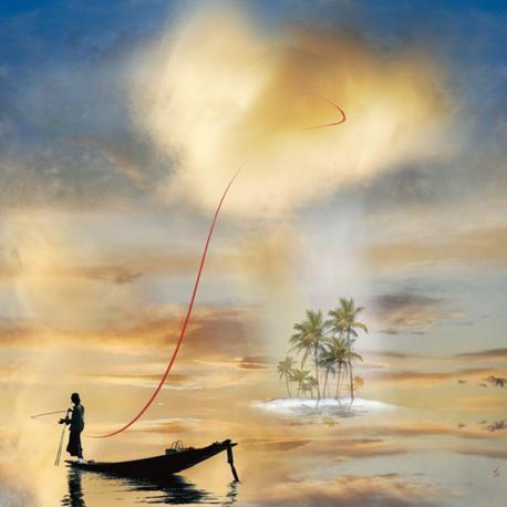 Carte Maïlo - Le pêcheur d'averses I - 14x14 cm
