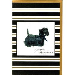 Carte Very Chic - Joyeux Anniversaire avec noeud papillon - 12x17 cm