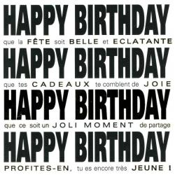 Carte Black and Gold - Happy birthday, que la fête soit belle - 14.5x14.5 cm
