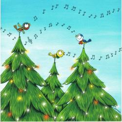 Carte Christine Donnier : Titi Pinson - Chantons la Bonne année - 13.5x13.5 cm