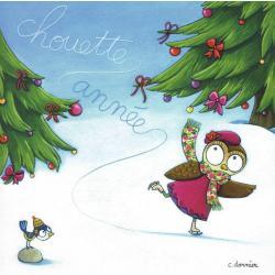 Carte Christine Donnier : Titi Pinson - Chouette année - 13.5x13.5 cm