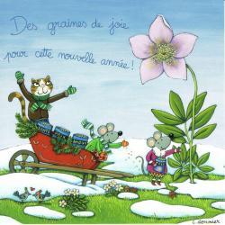Carte Christine Donnier : Titi Pinson - Des graines de joie ...cette nouvelle année - 13.5x13.5 cm