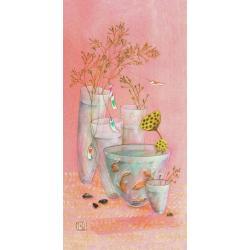 """Carte Gaëlle Boissonnard """"Vases poissons"""" New 10.5x21 cm"""