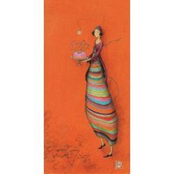 "Carte Gaëlle Boissonnard ""Femme robe rayée"" New 10.5x21 cm"