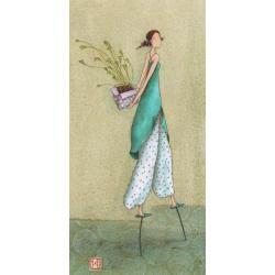 "Carte Gaëlle Boissonnard ""Femme échasses"" New 10.5x21 cm"