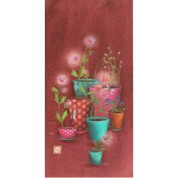 """Carte Gaëlle Boissonnard """"Femme pots de fleurs"""" New 10.5x21 cm"""
