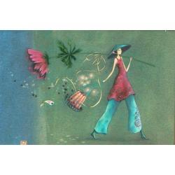 """Magnet Gaëlle Boissonnard """"La voyageuse"""" 7.9x5.4 cm"""