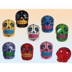 Tirelire en forme de crâne. Polyrésine 13 cm 8 couleurs assorties