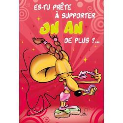 Carte double Ze Souris - Es tu prête à supporter un an de plus ... - 22X32 cm