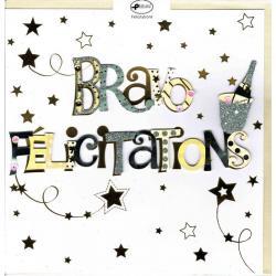 Carte Bravo Félicitations faite à la main - 20x x20.5 cm
