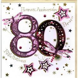 Carte 80 ans rose faite à la main - Etoiles et libellules - 20x x20.5 cm