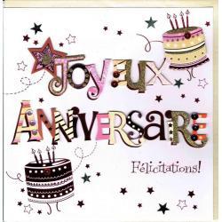 Carte Joyeux anniversaire faite à la main - Félicitations - 20x x20.5 cm