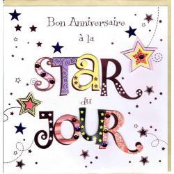 Carte Anniversaire faite à la main - A la star du jour - 20x x20.5 cm