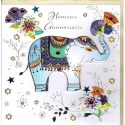 Carte Heureux anniversaire faite à la main - Elephant et Fleurs - 20x x20.5 cm