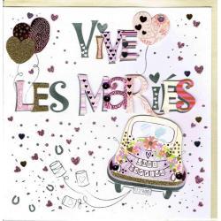 Carte Vive les mariés faite à la main - Félicitations - 20x x20.5 cm