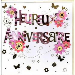 Carte Heureux anniversaire faite à la main - Fleurs - 20x x20.5 cm