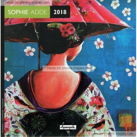 Calendrier Sophie Adde 2018 - Le parapluie fleuri - 16x16 cm