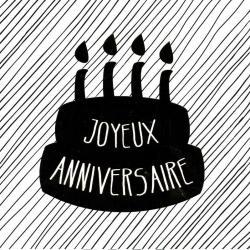 """Carte Black and Gold """"Joyeux anniversaire : Le gâteau"""" 14.5x14.5 cm"""