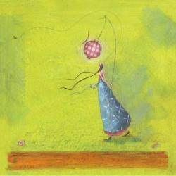 Carte Gaëlle Boissonnard - Femme à la lanterne rouge - 14x14 cm